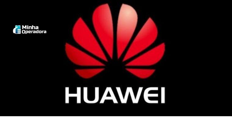 Logomarca Huawei com o fundo preto