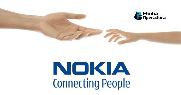 """Logomarca da Nokia com o escrito """"Connecting People"""""""
